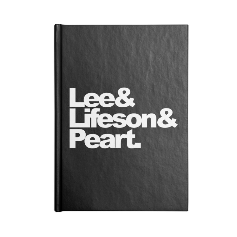 Lee and Lifeson and Peart - black background Accessories Notebook by ALMA VISUAL's Artist Shop
