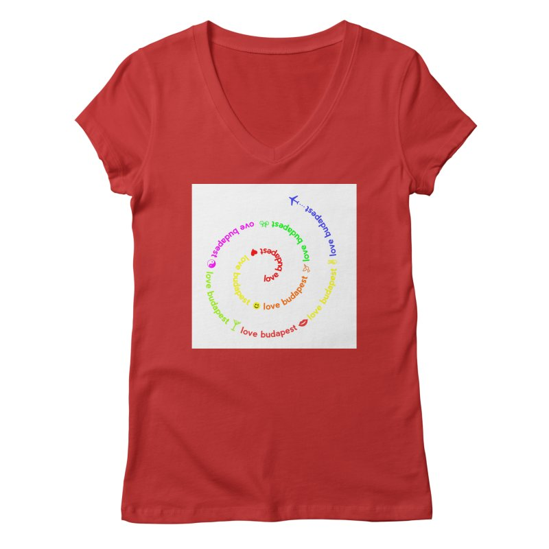 Love Budapest, colors Women's V-Neck by ALMA VISUAL's Artist Shop