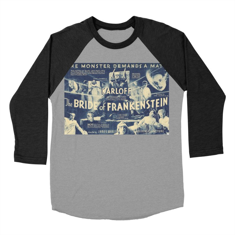 Bride of Frankenstein, vintage horror movie poster Women's Baseball Triblend T-Shirt by ALMA VISUAL's Artist Shop