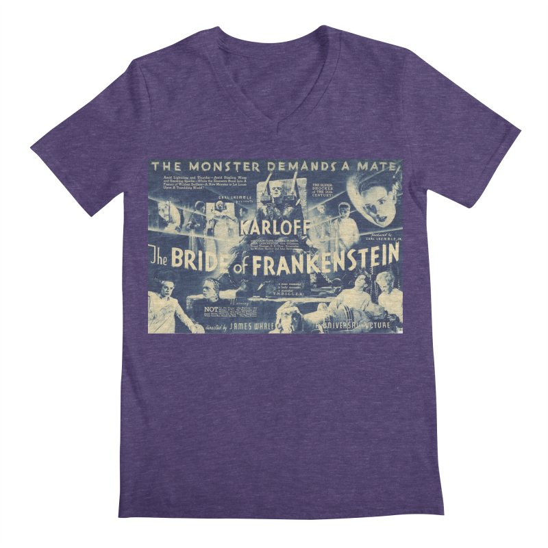 Bride of Frankenstein, vintage horror movie poster Men's V-Neck by ALMA VISUAL's Artist Shop