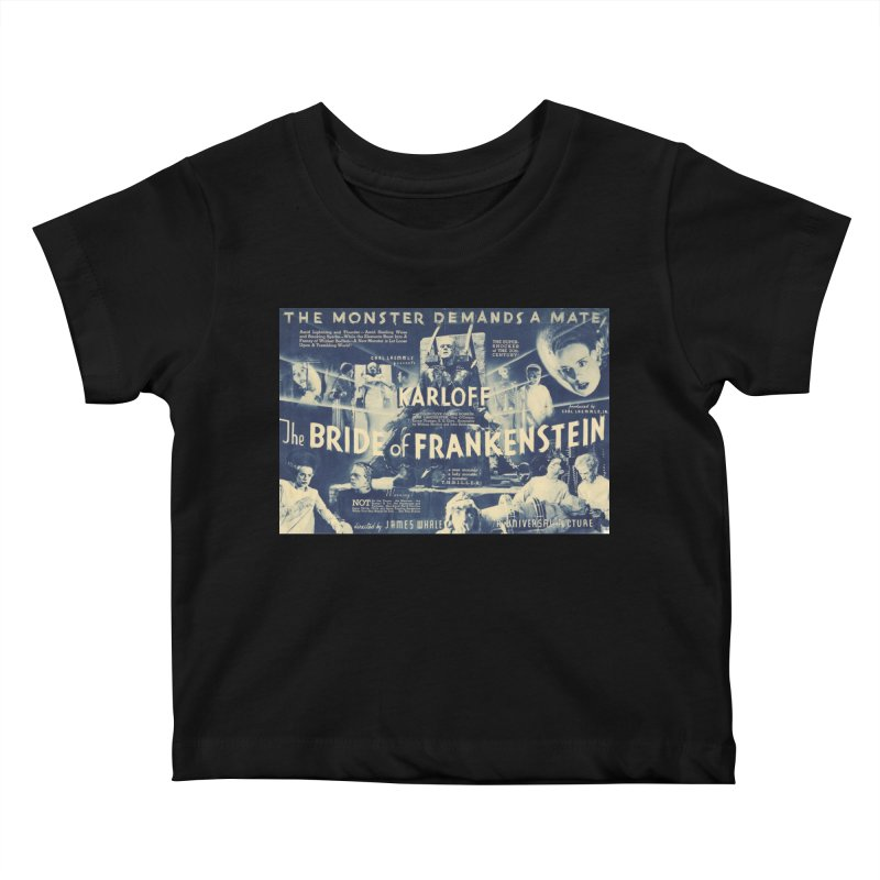 Bride of Frankenstein, vintage horror movie poster Kids Baby T-Shirt by ALMA VISUAL's Artist Shop