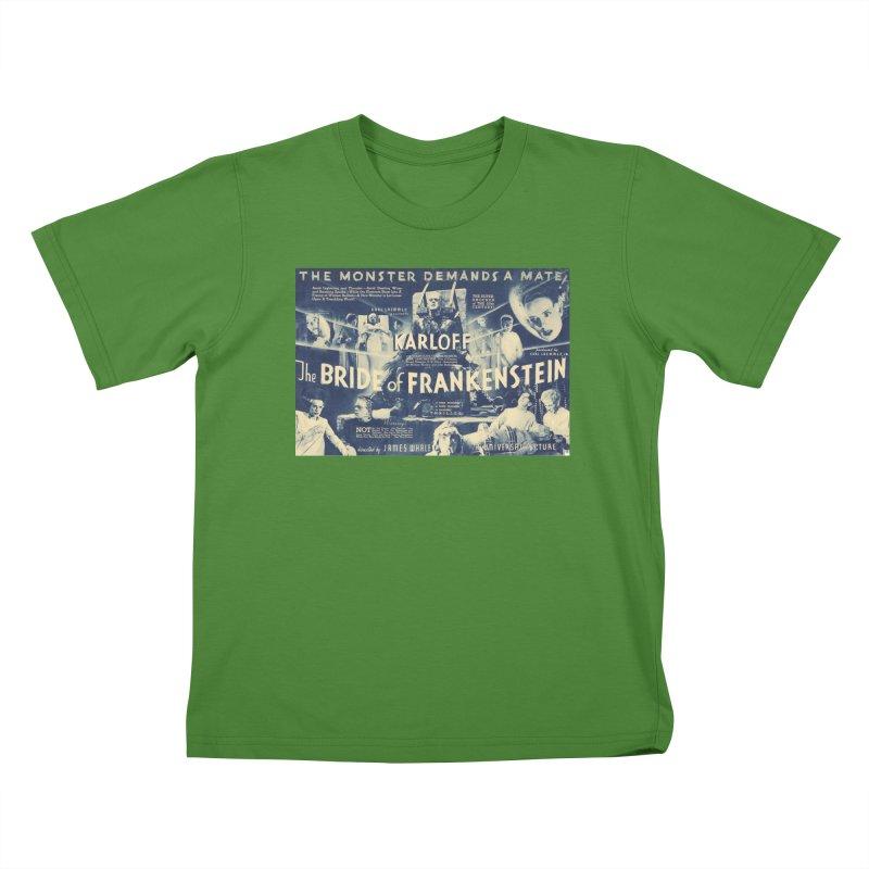 Bride of Frankenstein, vintage horror movie poster Kids T-shirt by ALMA VISUAL's Artist Shop