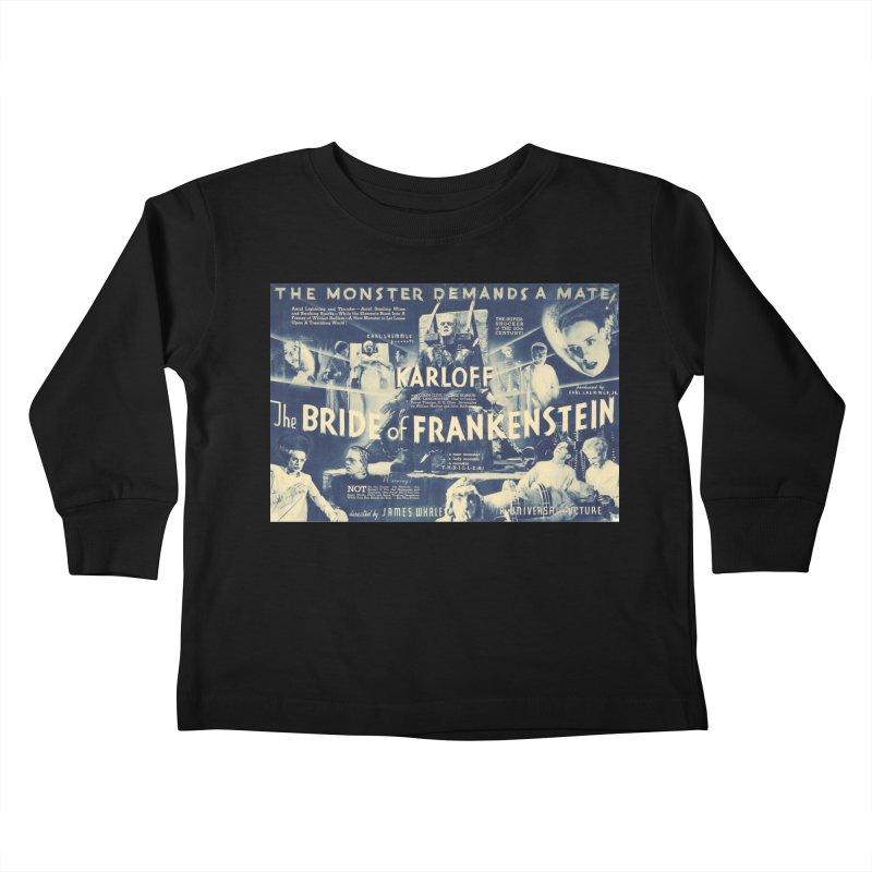 Bride of Frankenstein, vintage horror movie poster Kids Toddler Longsleeve T-Shirt by ALMA VISUAL's Artist Shop