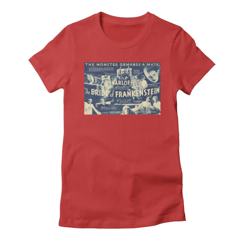 Bride of Frankenstein, vintage horror movie poster Women's Fitted T-Shirt by ALMA VISUAL's Artist Shop