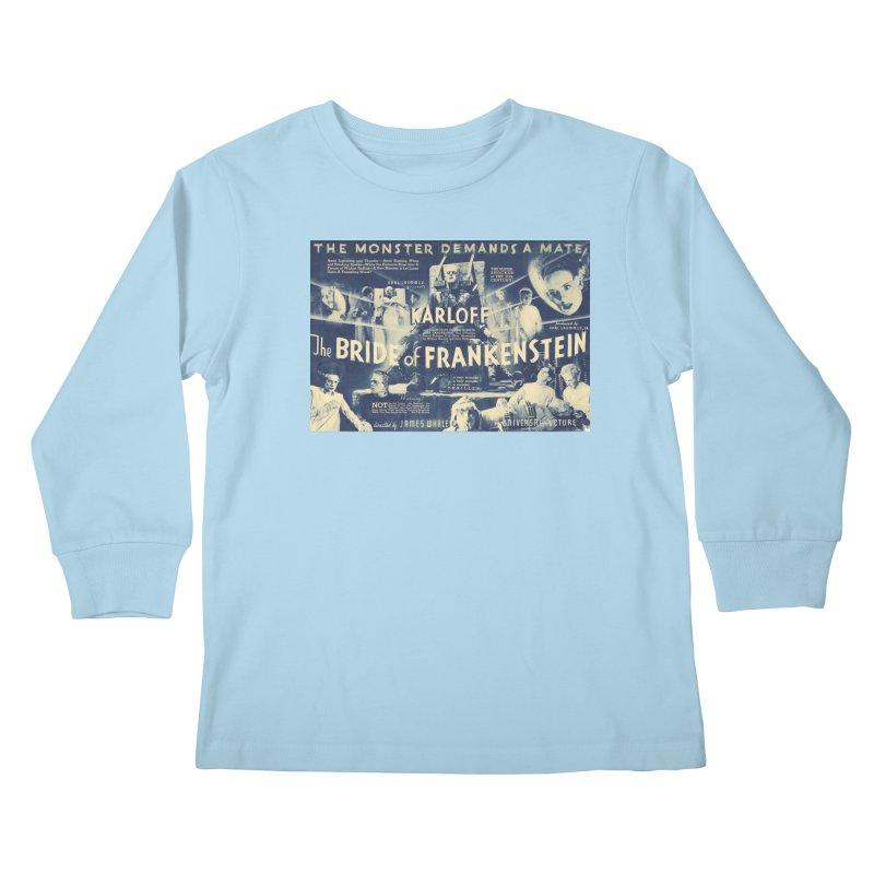 Bride of Frankenstein, vintage horror movie poster Kids Longsleeve T-Shirt by ALMA VISUAL's Artist Shop