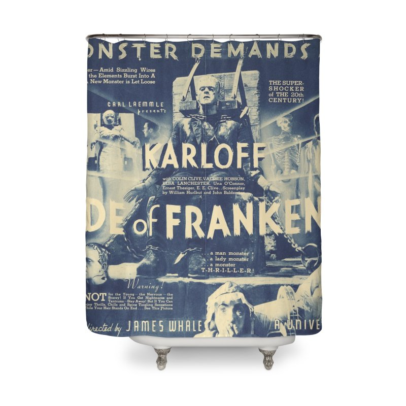 Bride of Frankenstein, vintage horror movie poster Home Shower Curtain by ALMA VISUAL's Artist Shop