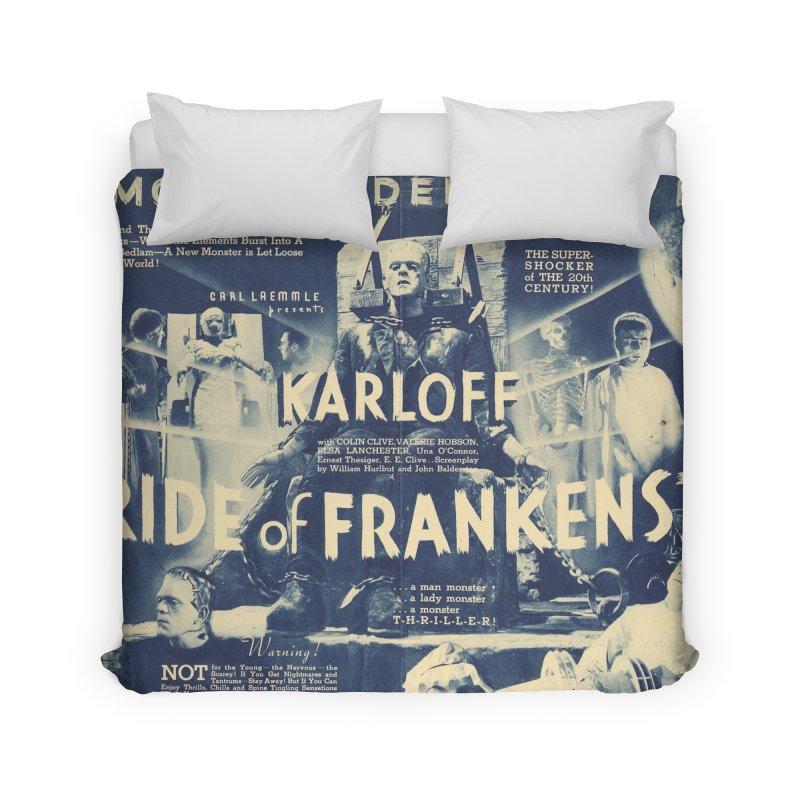 Bride of Frankenstein, vintage horror movie poster Home Duvet by ALMA VISUAL's Artist Shop