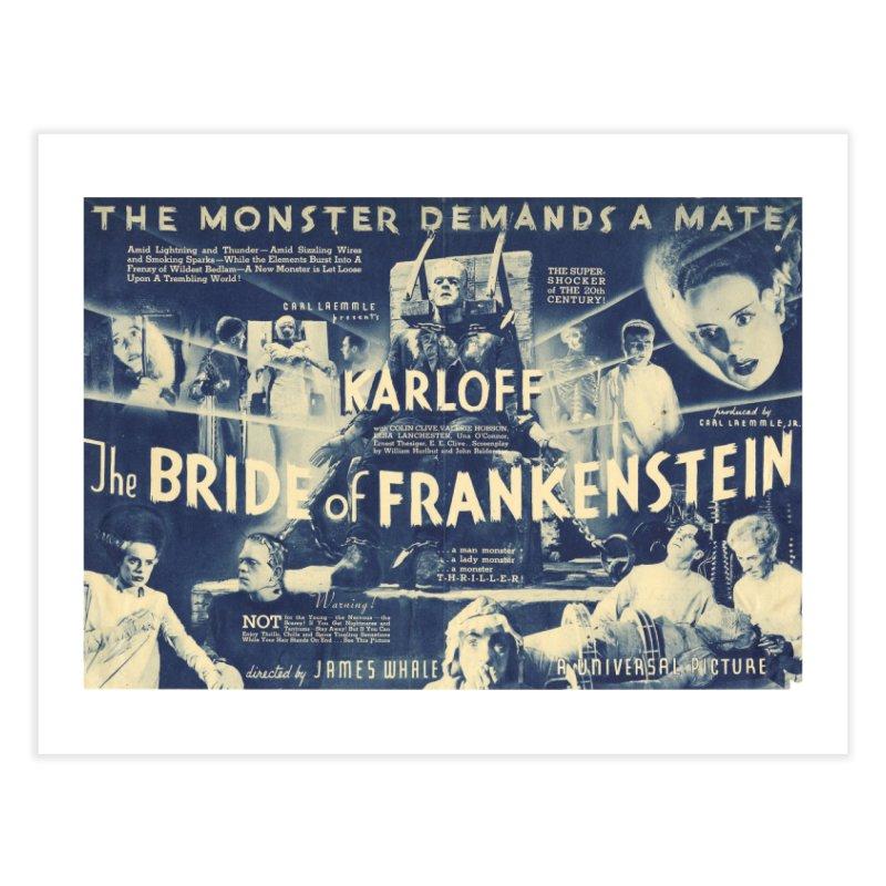 Bride of Frankenstein, vintage horror movie poster Home Fine Art Print by ALMA VISUAL's Artist Shop