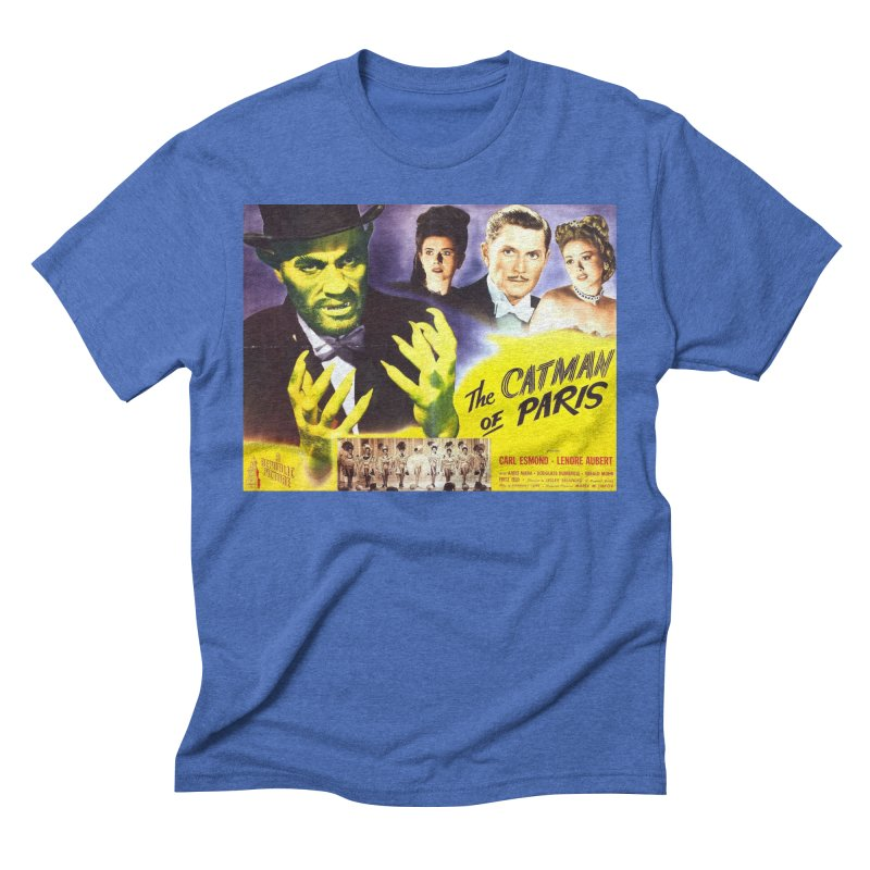 The Catman of Paris, Vintage Horror Movie Poster Men's Triblend T-Shirt by ALMA VISUAL's Artist Shop