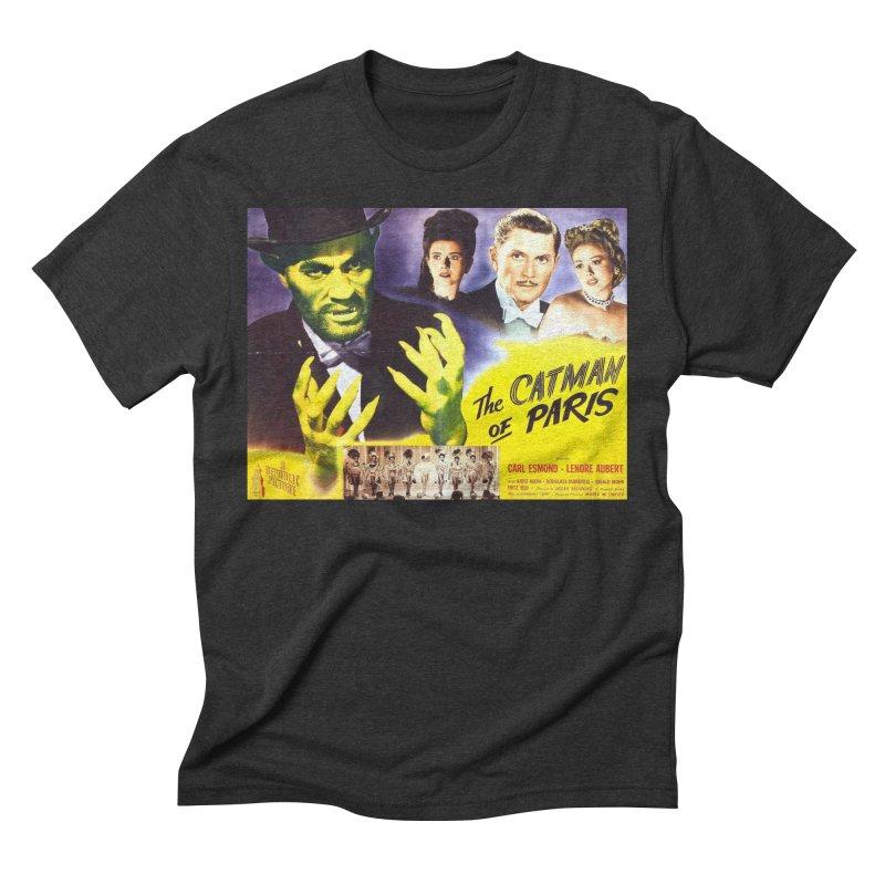 The Catman of Paris, Vintage Horror Movie Poster Men's Triblend T-Shirt by ALMA VISUAL's Artist Shop