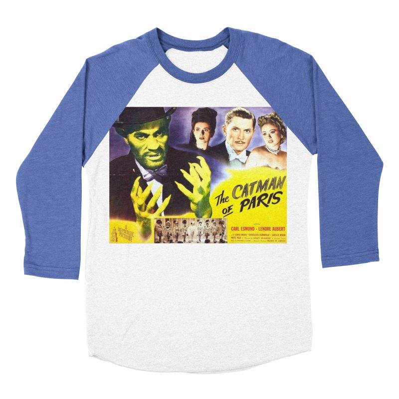 The Catman of Paris, Vintage Horror Movie Poster Men's Baseball Triblend T-Shirt by ALMA VISUAL's Artist Shop