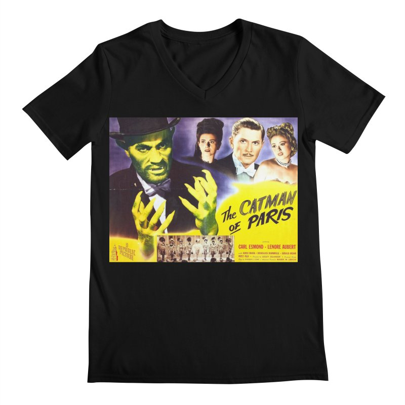 The Catman of Paris, Vintage Horror Movie Poster Men's V-Neck by ALMA VISUAL's Artist Shop