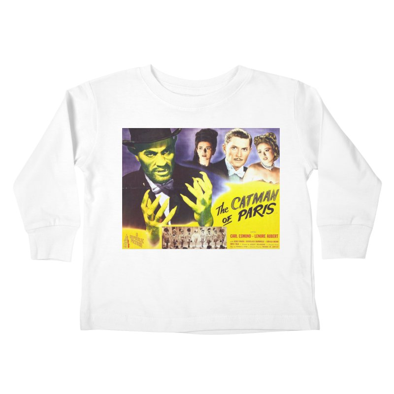 The Catman of Paris, Vintage Horror Movie Poster Kids Toddler Longsleeve T-Shirt by ALMA VISUAL's Artist Shop
