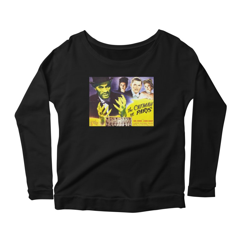 The Catman of Paris, Vintage Horror Movie Poster Women's Longsleeve Scoopneck  by ALMA VISUAL's Artist Shop
