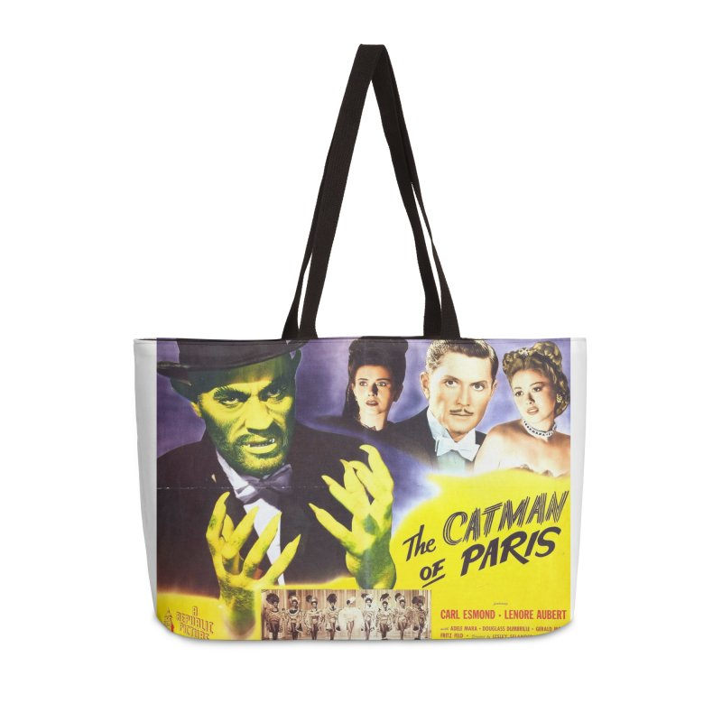 The Catman of Paris, Vintage Horror Movie Poster Accessories Weekender Bag Bag by ALMA VISUAL's Artist Shop