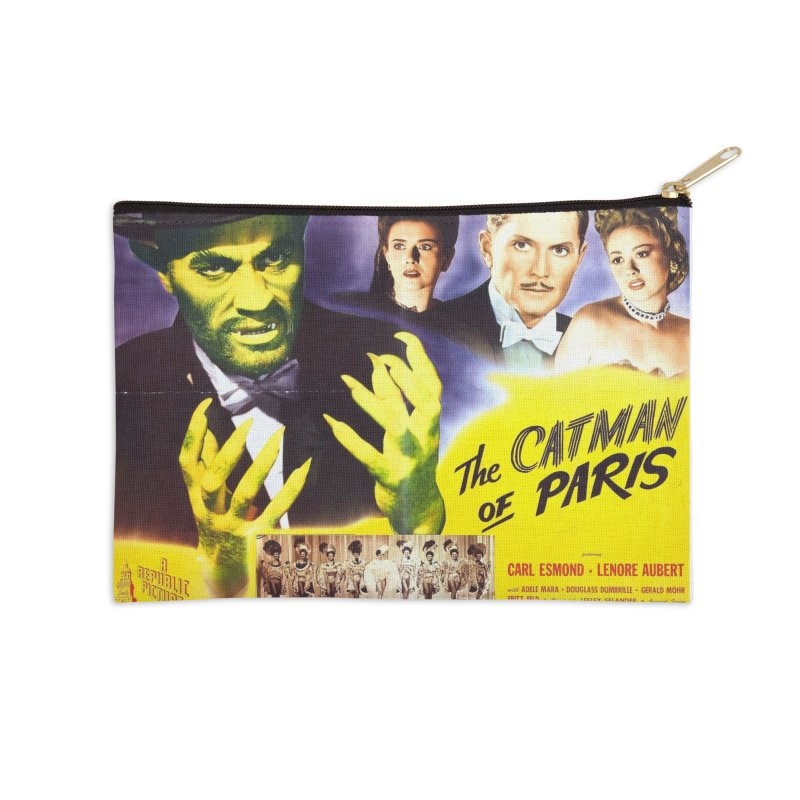 The Catman of Paris, Vintage Horror Movie Poster Accessories Zip Pouch by ALMA VISUAL's Artist Shop