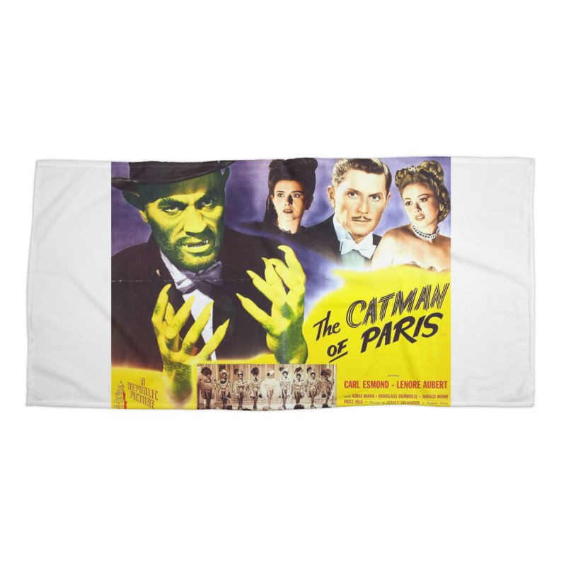 The Catman of Paris, Vintage Horror Movie Poster Accessories Beach Towel by ALMA VISUAL's Artist Shop