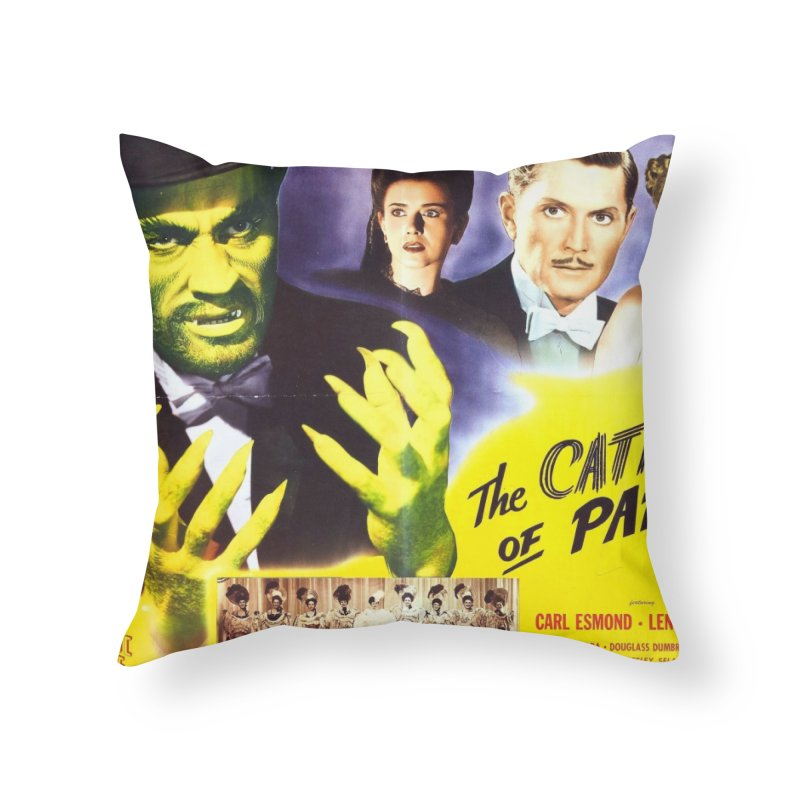 The Catman of Paris, Vintage Horror Movie Poster Home Throw Pillow by ALMA VISUAL's Artist Shop