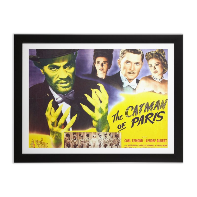 The Catman of Paris, Vintage Horror Movie Poster Home Framed Fine Art Print by ALMA VISUAL's Artist Shop