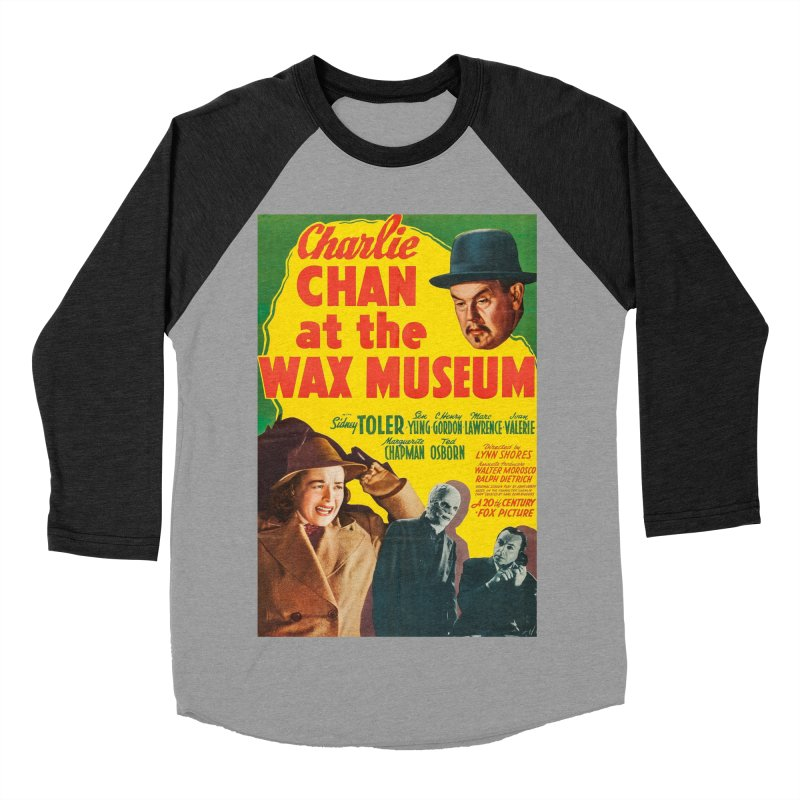 Charlie Chan at the Wax Museum, vintage movie poster Men's Baseball Triblend Longsleeve T-Shirt by ALMA VISUAL's Artist Shop