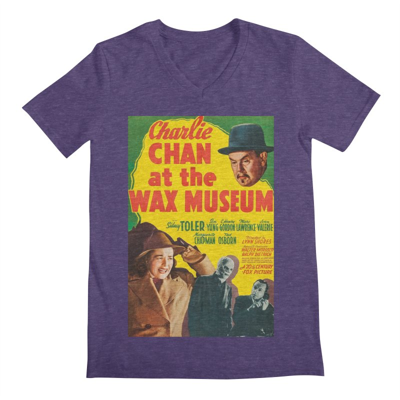 Charlie Chan at the Wax Museum, vintage movie poster Men's V-Neck by ALMA VISUAL's Artist Shop