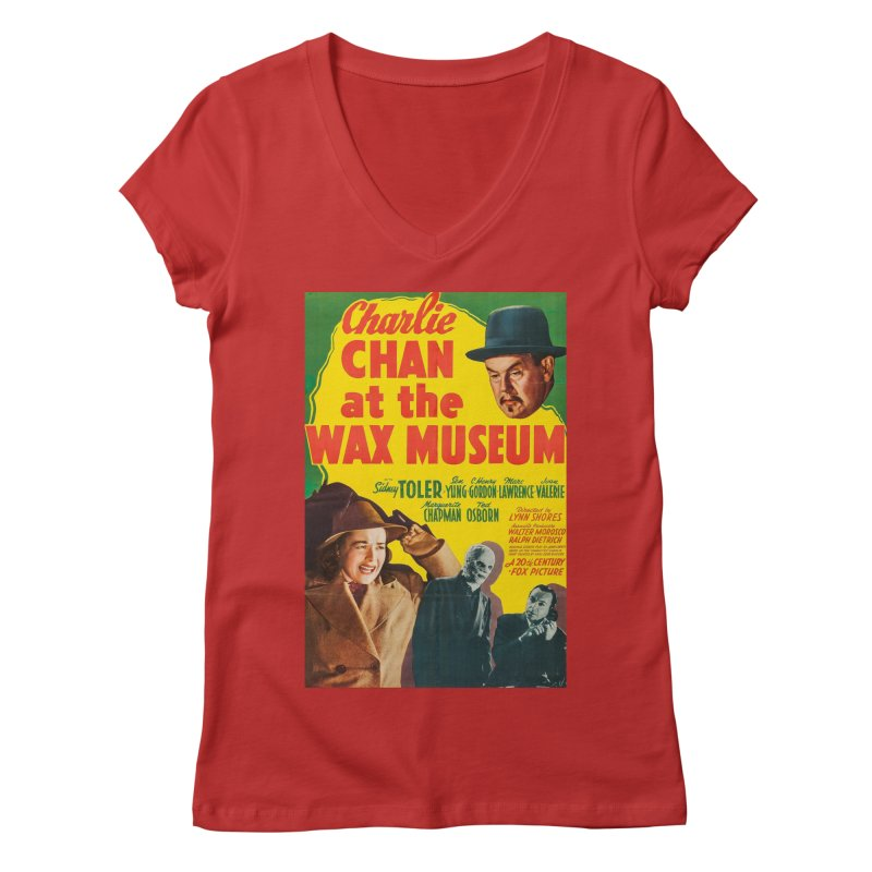Charlie Chan at the Wax Museum, vintage movie poster Women's V-Neck by ALMA VISUAL's Artist Shop
