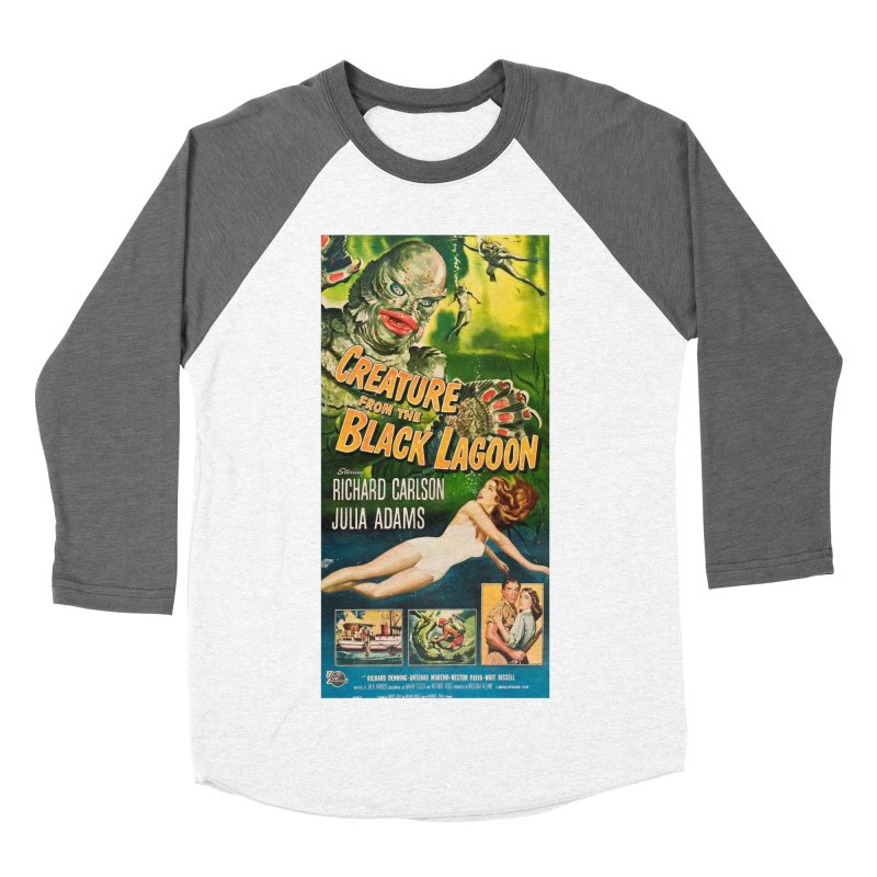 Creature from the Black Lagoon, vintage horror movie poster Men's Baseball Triblend T-Shirt by ALMA VISUAL's Artist Shop