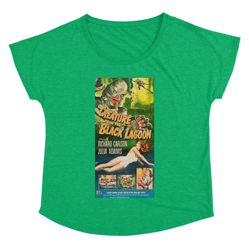 Creature from the Black Lagoon, vintage horror movie poster Women's Dolman Scoop Neck by ALMA VISUAL's Artist Shop