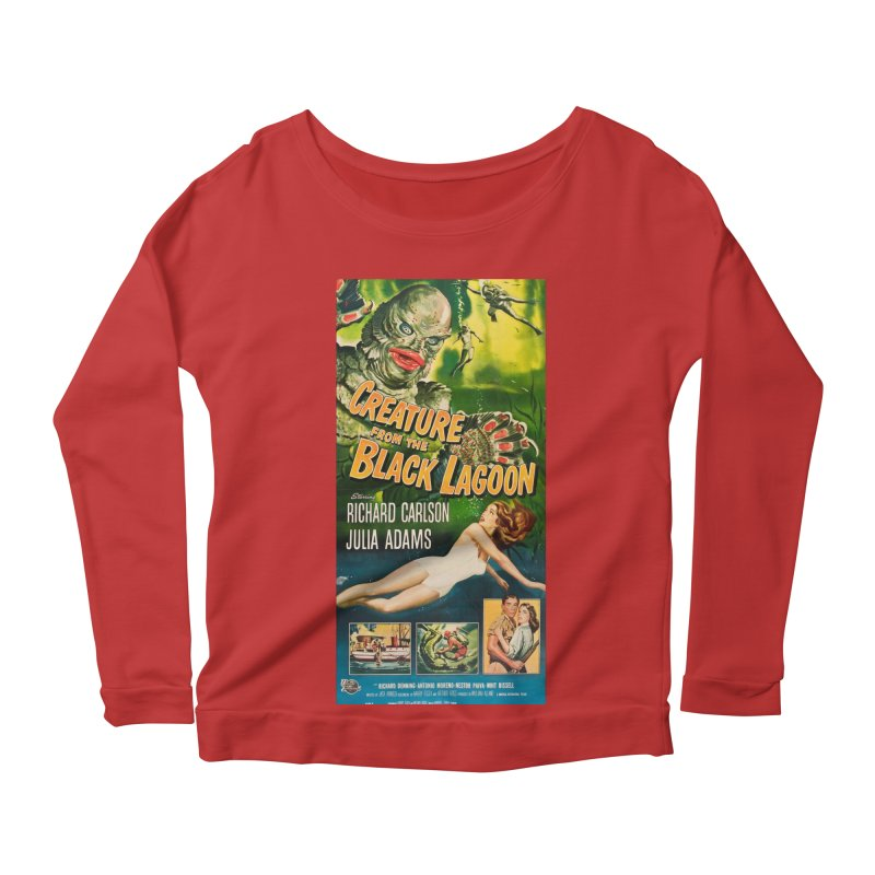 Creature from the Black Lagoon, vintage horror movie poster Women's Longsleeve Scoopneck  by ALMA VISUAL's Artist Shop