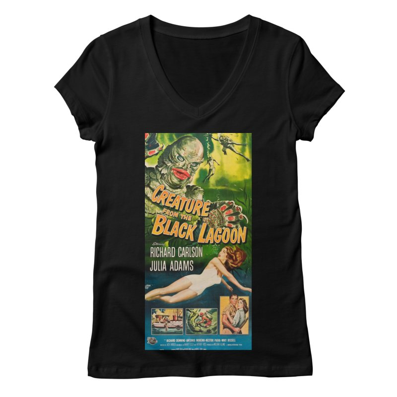 Creature from the Black Lagoon, vintage horror movie poster Women's V-Neck by ALMA VISUAL's Artist Shop