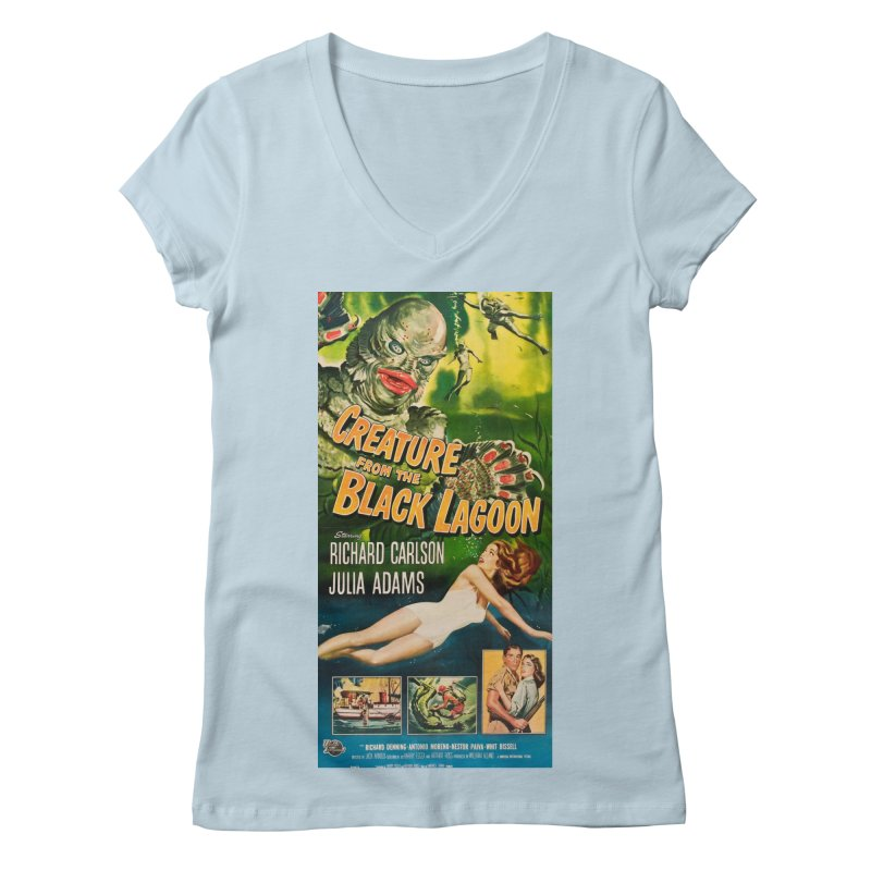 Creature from the Black Lagoon, vintage horror movie poster Women's Regular V-Neck by ALMA VISUAL's Artist Shop