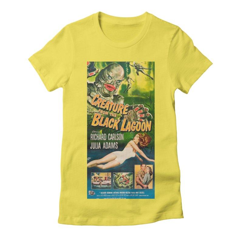 Creature from the Black Lagoon, vintage horror movie poster Women's Fitted T-Shirt by ALMA VISUAL's Artist Shop