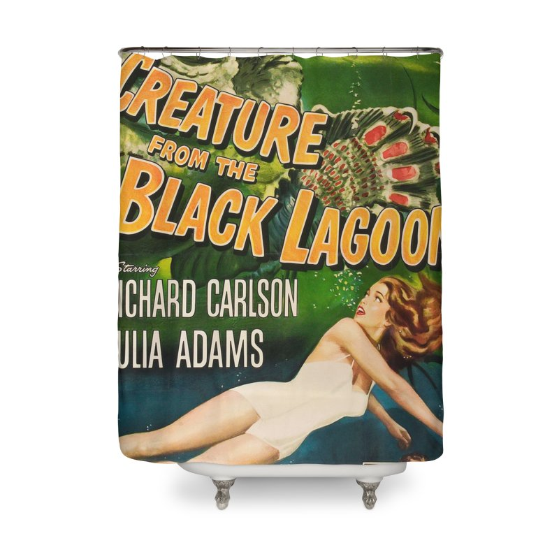 Creature from the Black Lagoon, vintage horror movie poster Home Shower Curtain by ALMA VISUAL's Artist Shop