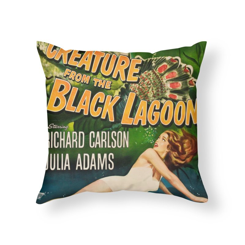 Creature from the Black Lagoon, vintage horror movie poster Home Throw Pillow by ALMA VISUAL's Artist Shop