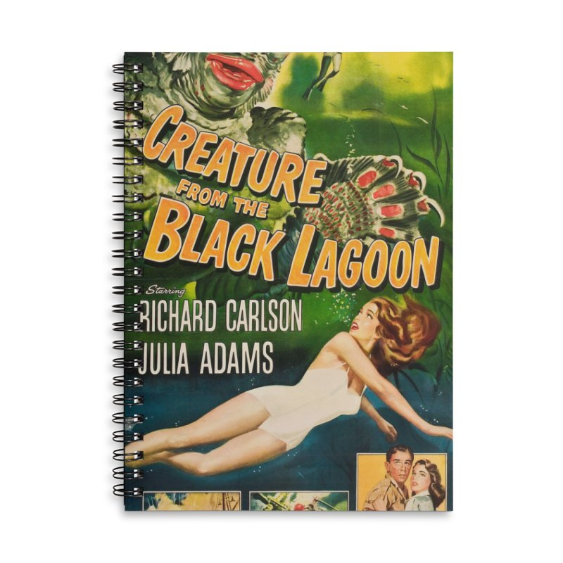Creature from the Black Lagoon, vintage horror movie poster Accessories Lined Spiral Notebook by ALMA VISUAL's Artist Shop