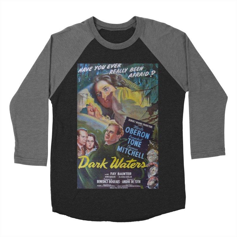 Dark Waters, vintage horror movie poster Men's Baseball Triblend Longsleeve T-Shirt by ALMA VISUAL's Artist Shop