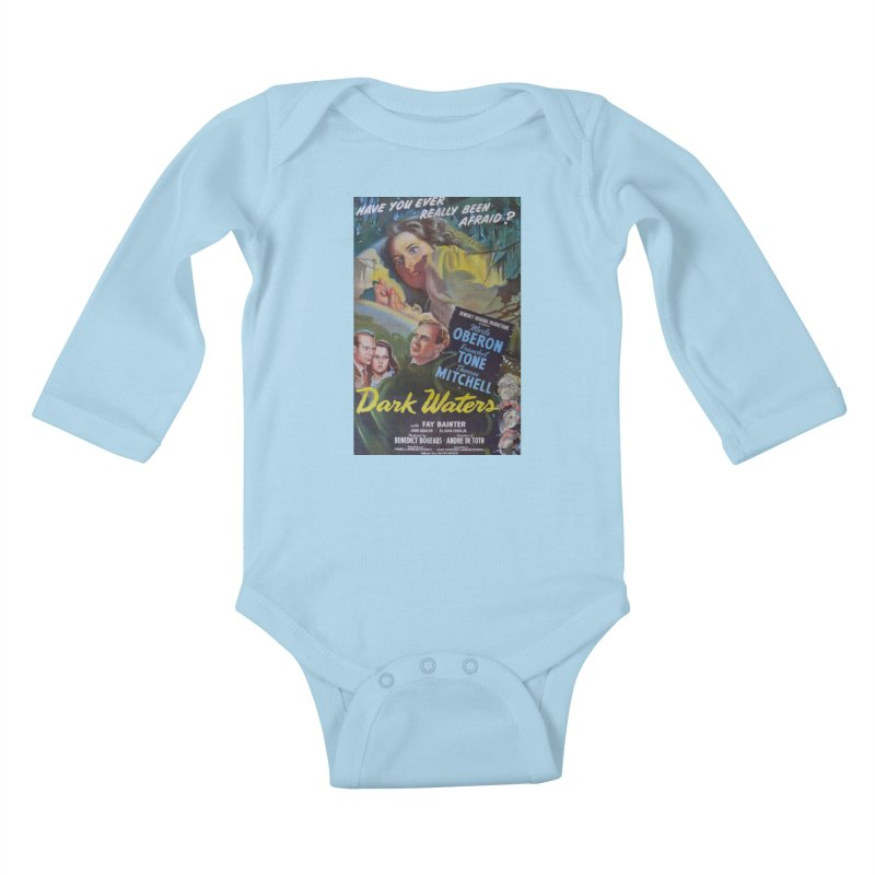 Dark Waters, vintage horror movie poster Kids Baby Longsleeve Bodysuit by ALMA VISUAL's Artist Shop