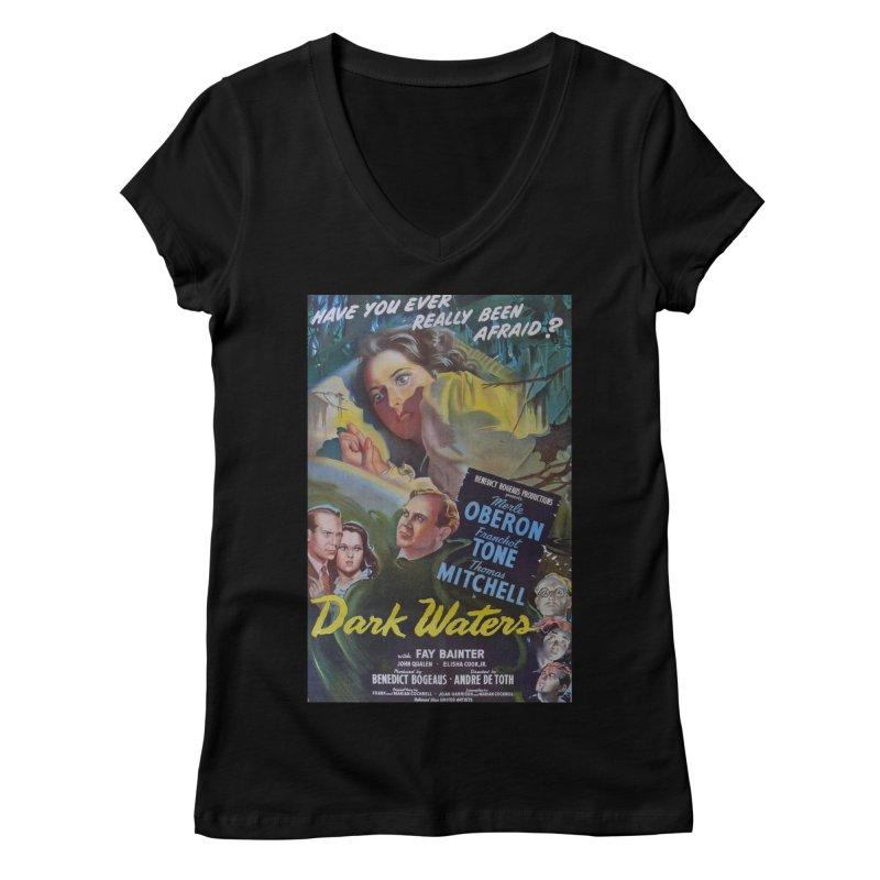 Dark Waters, vintage horror movie poster Women's Regular V-Neck by ALMA VISUAL's Artist Shop