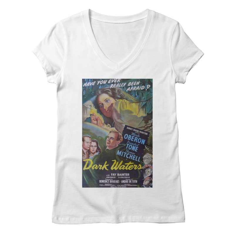 Dark Waters, vintage horror movie poster Women's Regular V-Neck by ALMA VISUAL's Artist Shop