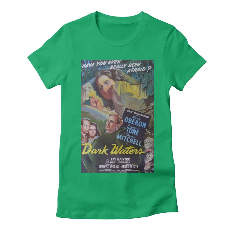 Dark Waters, vintage horror movie poster Women's Fitted T-Shirt by ALMA VISUAL's Artist Shop