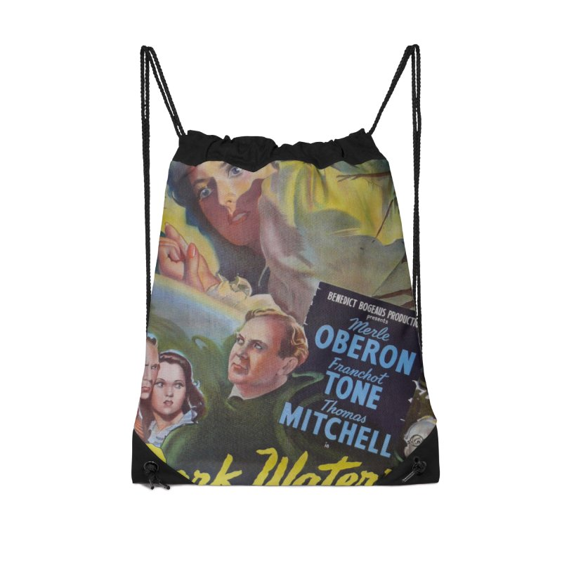 Dark Waters, vintage horror movie poster Accessories Drawstring Bag Bag by ALMA VISUAL's Artist Shop