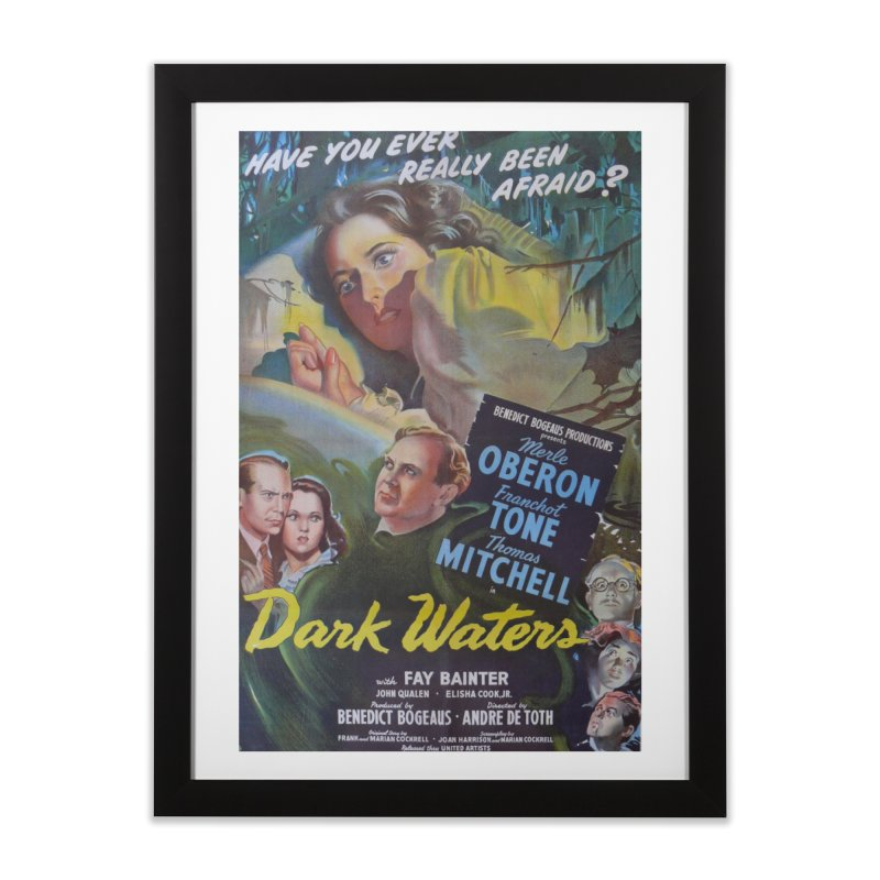 Dark Waters, vintage horror movie poster Home Framed Fine Art Print by ALMA VISUAL's Artist Shop