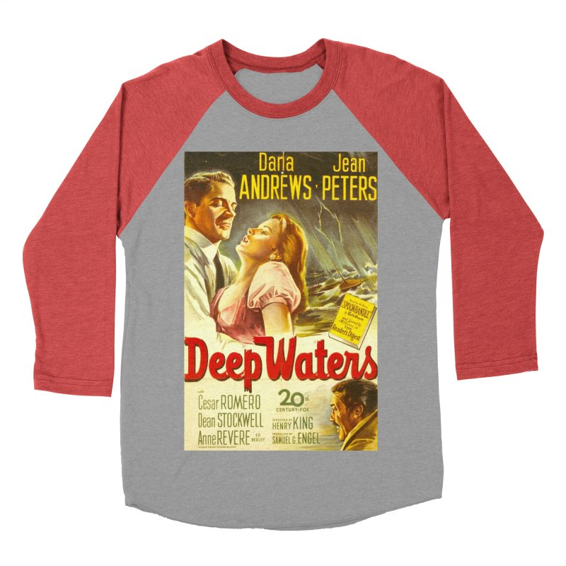 Deep Waters, vintage movie poster Women's Baseball Triblend Longsleeve T-Shirt by ALMA VISUAL's Artist Shop