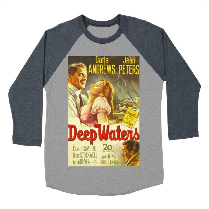 Deep Waters, vintage movie poster Men's Baseball Triblend Longsleeve T-Shirt by ALMA VISUAL's Artist Shop