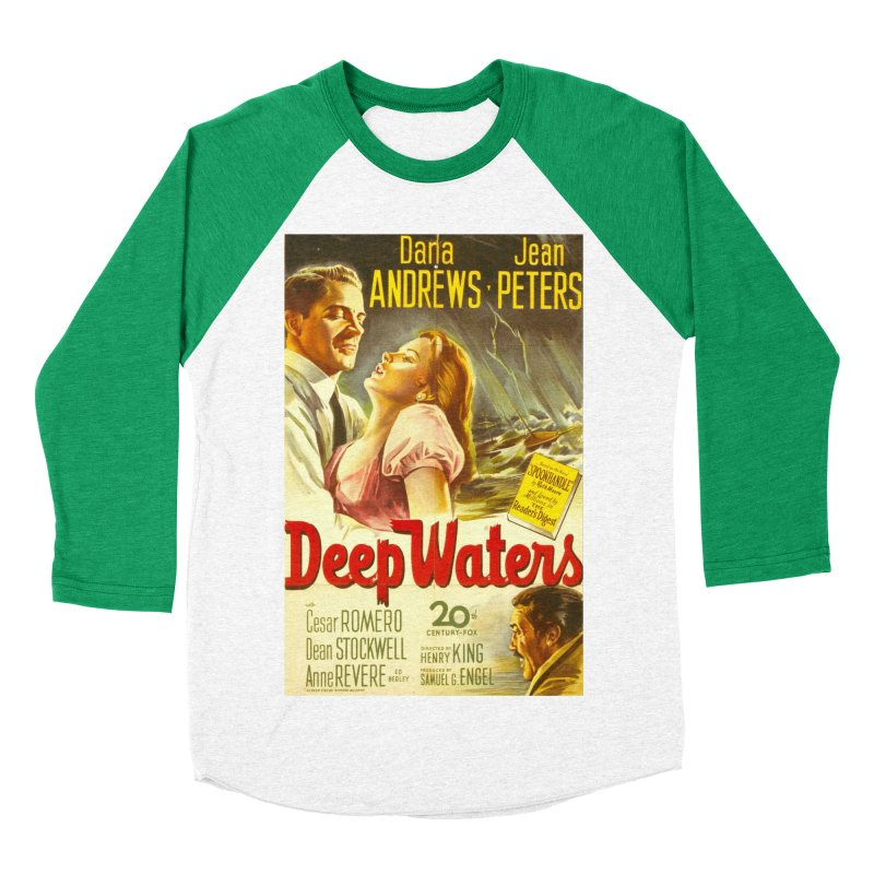 Deep Waters, vintage movie poster Men's Baseball Triblend T-Shirt by ALMA VISUAL's Artist Shop