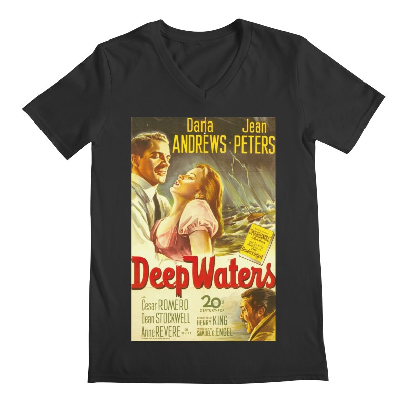 Deep Waters, vintage movie poster Men's Regular V-Neck by ALMA VISUAL's Artist Shop
