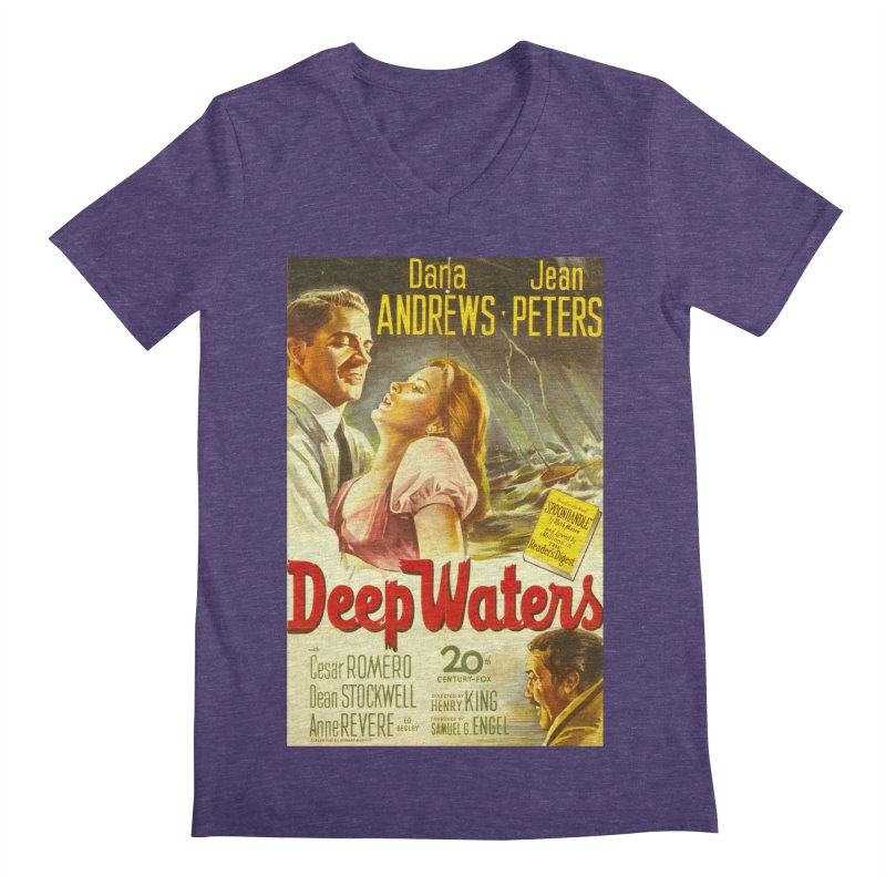 Deep Waters, vintage movie poster Men's V-Neck by ALMA VISUAL's Artist Shop