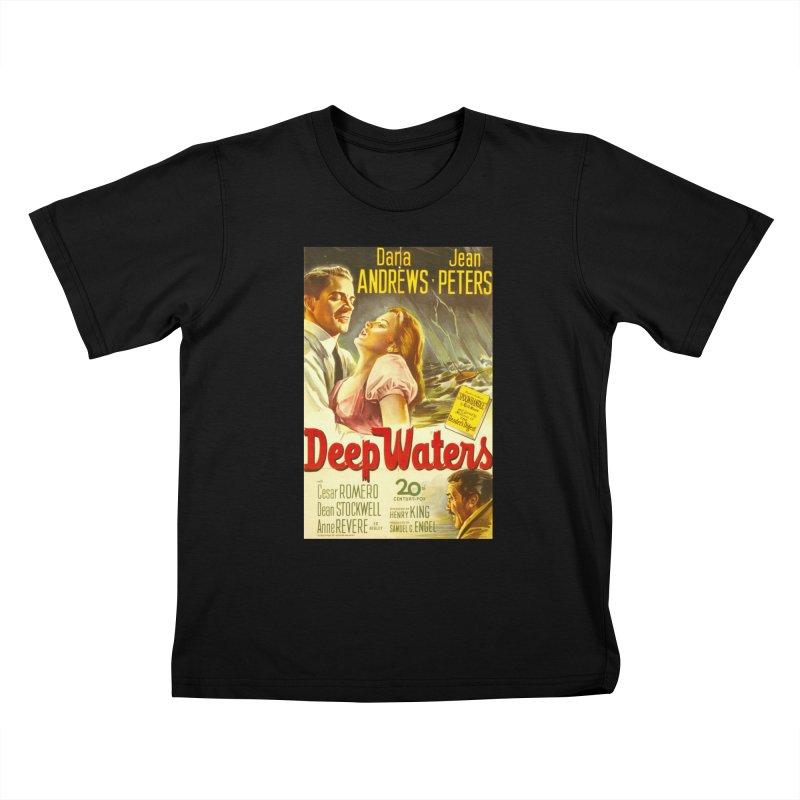 Deep Waters, vintage movie poster Kids T-Shirt by ALMA VISUAL's Artist Shop