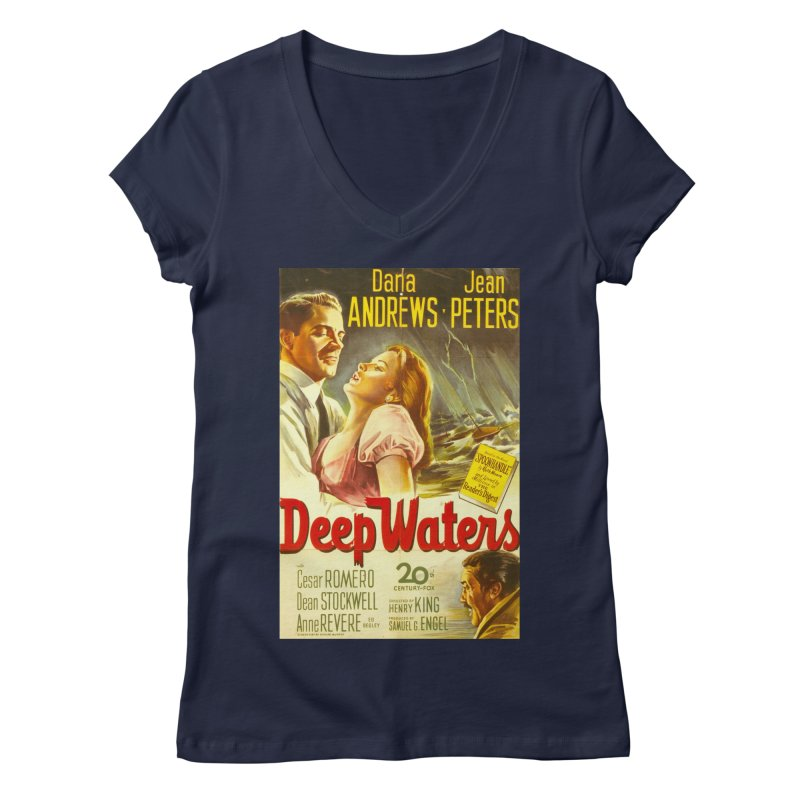 Deep Waters, vintage movie poster Women's Regular V-Neck by ALMA VISUAL's Artist Shop
