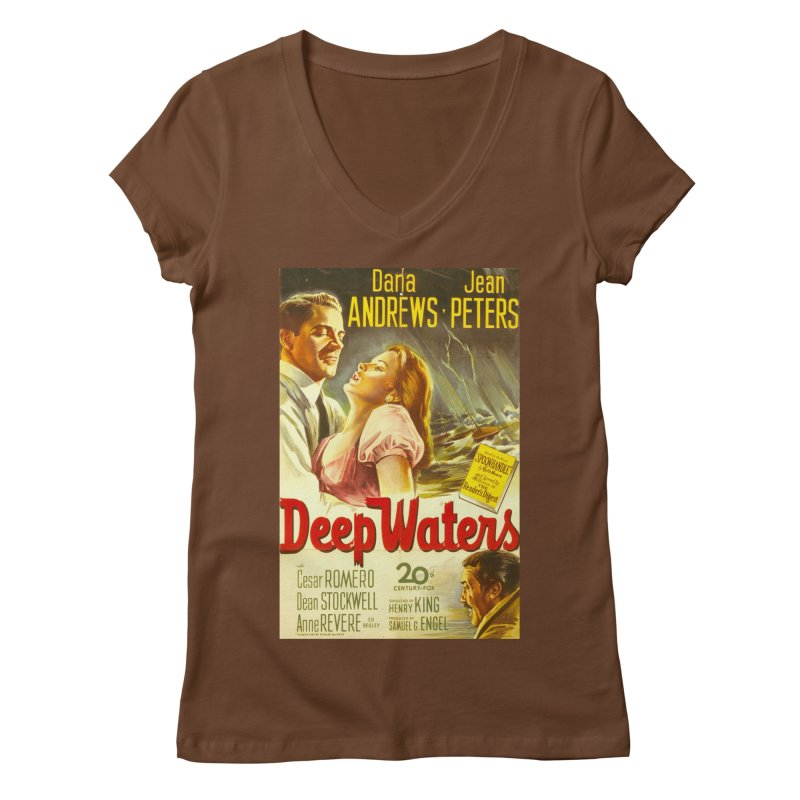 Deep Waters, vintage movie poster Women's Regular V-Neck by ALMA VISUAL's Artist Shop